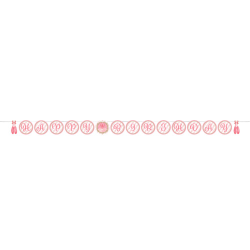 "Pack of 6 Pink and White ""HAPPY BIRTHDAY"" Twinkle Toes - Ribbon Shaped Banner 102"" - IMAGE 1"