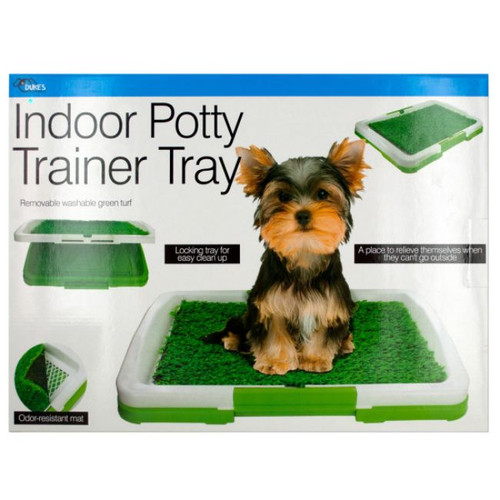 """Pack of 2 Green and White Indoor Potty Trainer Trays 18"""" - IMAGE 1"""