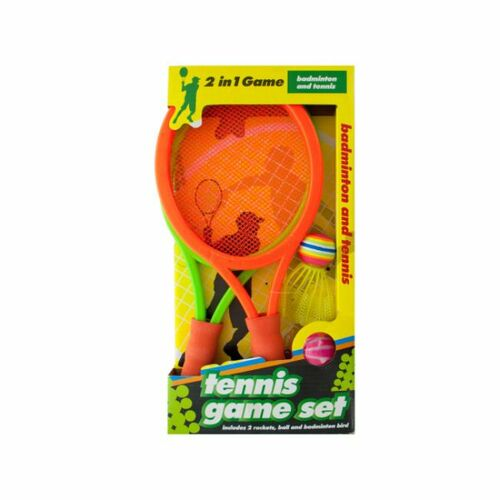 """Pack of 3 Orange and Yellow Badminton Rackets with Cork and Tennis Ball Game Set 13.5"""" - IMAGE 1"""