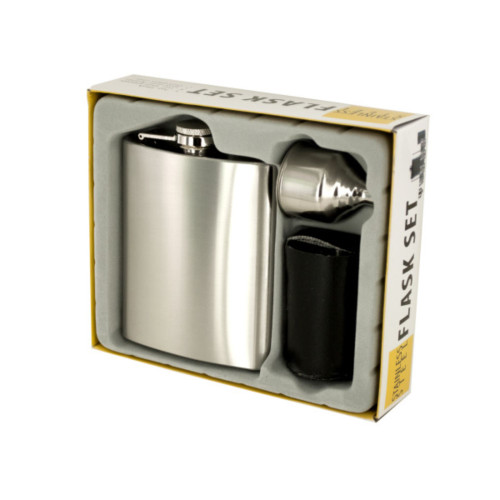 7 oz Stainless Steel Flask Set - IMAGE 1