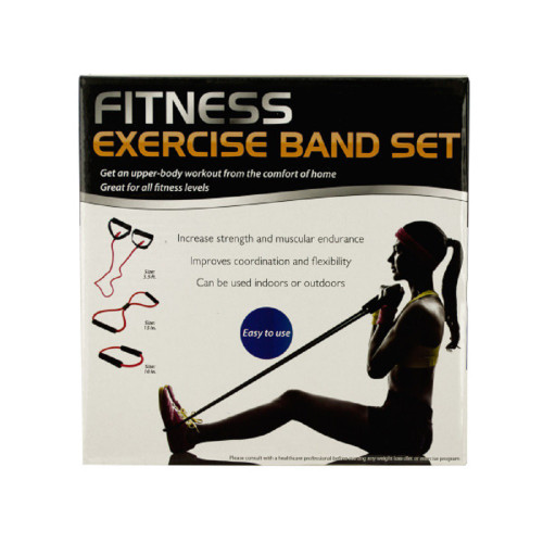 """15"""" Black and Red Fitness Exercise Band Set with Storage Bag - IMAGE 1"""