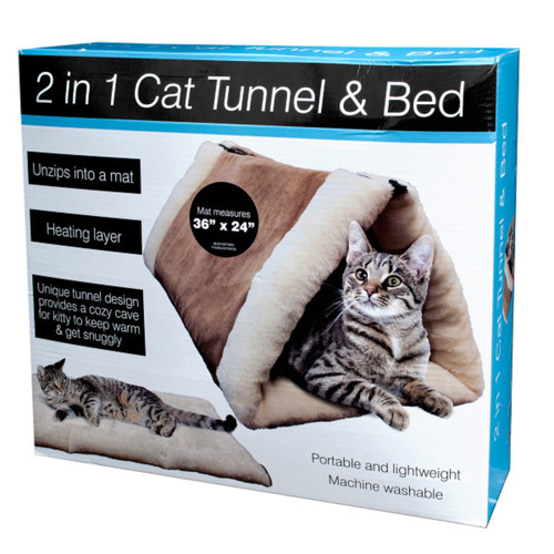 """36"""" Brown and Beige 2 In 1 Cat Tunnel and Bed with Heating Layer - IMAGE 1"""