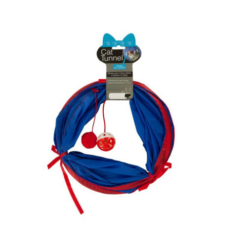 Pack of 4 Blue and Red Cat Tunnel with Dangle Toys 21 x 10 - IMAGE 1