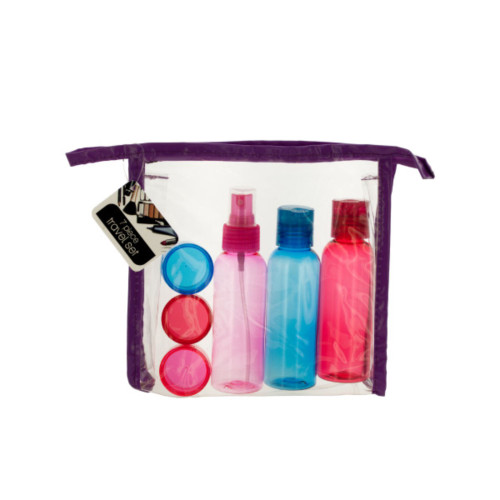 Pack of 4 Pink and Blue Travel Container Set in Zipper Case - IMAGE 1