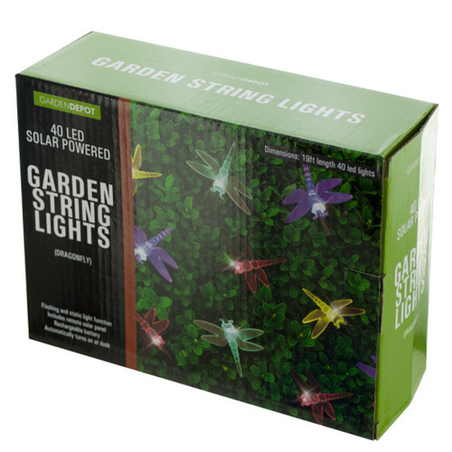 19' Multi Color Solar Powered Dragonfly LED String Lights - IMAGE 1