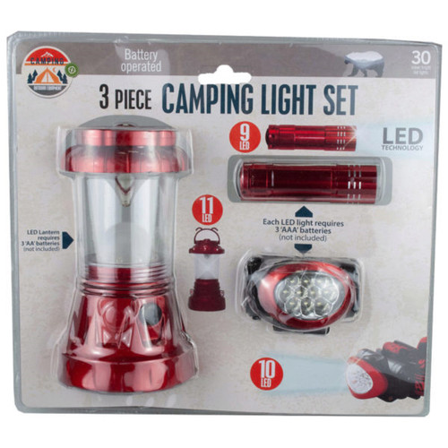 Red and Clear LED 3-Piece Camping Light Sets with Handle - IMAGE 1