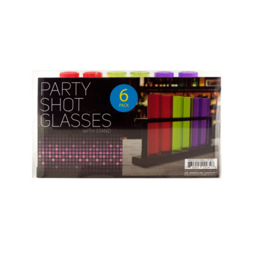 """Pack of 4 Red and Green Test Tube Party Shot Glasses with Stand 4.5"""" - IMAGE 1"""