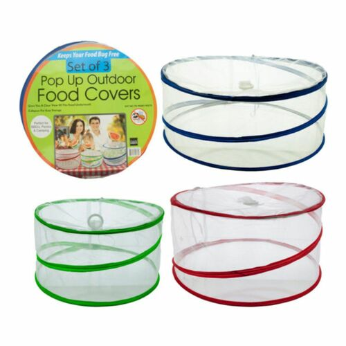 """Pack of 3 Blue and Green Pop-Up Outdoor Food Protector Covers 15"""" - IMAGE 1"""