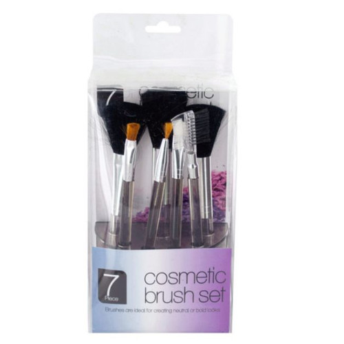 """Pack of 4 Clear Cosmetic 7-Piece Brush Set in Organizer 7"""" - IMAGE 1"""