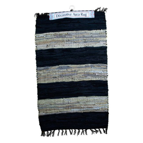 """Pack of 2 Wide Striped Gray and Black Rectangular Area Throw Rugs 24"""" x 36"""" - IMAGE 1"""