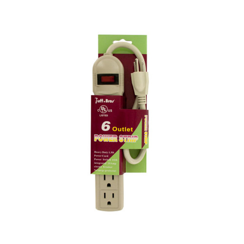 Pack of 4 White and Red 6 Outlet Power Strip - IMAGE 1