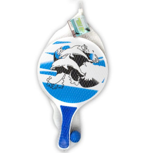 Pack of 4 Blue and White Paddle Ball Game Set - IMAGE 1