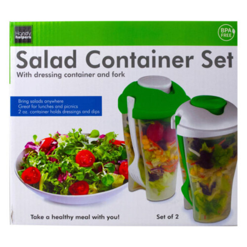 "Pack of 4 Green and White 3-Piece Salad Container and Forks Sets 8"" - IMAGE 1"