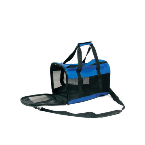 """14"""" Blue and Black Sturdy Pet Carrier Bag with Mesh Front - IMAGE 1"""