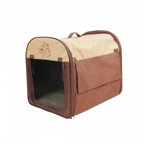 """18"""" Brown and Beige Sturdy Pet Carrier Bag with Mesh Front - IMAGE 1"""