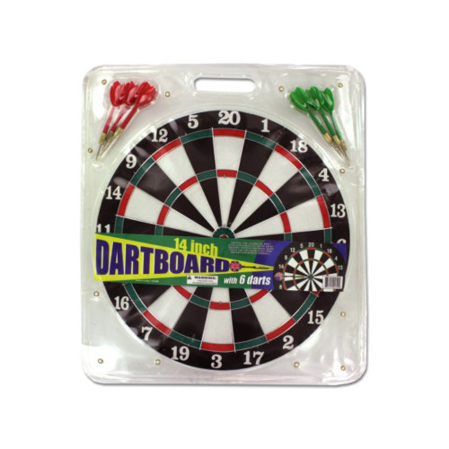 """Pack of 4 Black and White 2-Piece Dartboard with Metal Tip Darts 14"""" - IMAGE 1"""