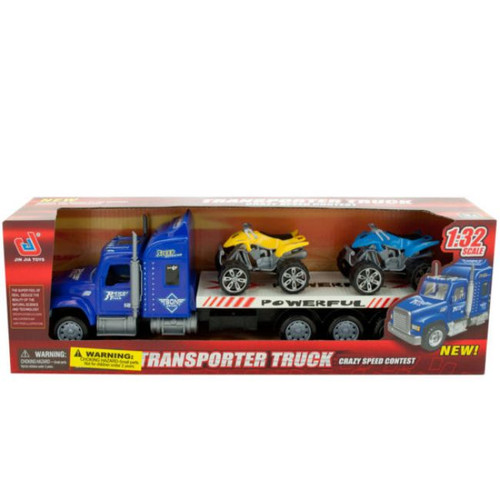"""Pack of 2 Blue and Yellow Friction Powered Toy Trailer Truck with ATVs 16.25"""" - IMAGE 1"""