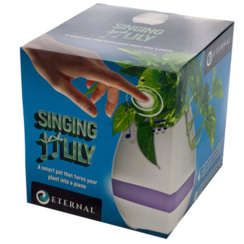 Pack of 2 White and Purple Light Mode Singing Lily Pot - IMAGE 1