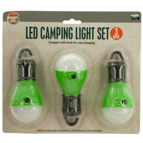 """Pack of 4 Green and White LED Hanging 3-Piece Camping Lights Sets 4.75"""" - IMAGE 1"""