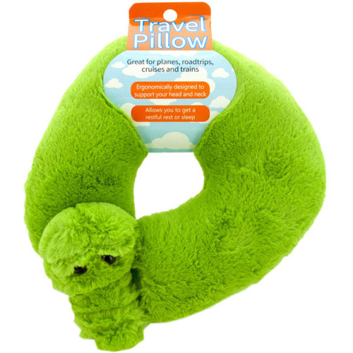 "Pack of 2 Neon Green and Black Plush Alligator Travel Pillows 11"" - IMAGE 1"
