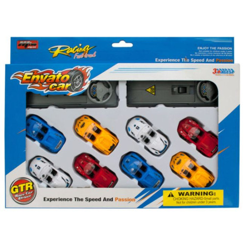 Pack of 4 Red and Yellow 10-Piece Race Car Launch Sets - IMAGE 1