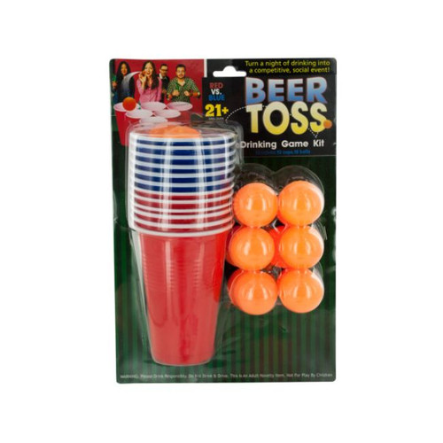 Pack of 4 Red and Orange 30-Piece Beer Toss Drinking Game Kit - IMAGE 1