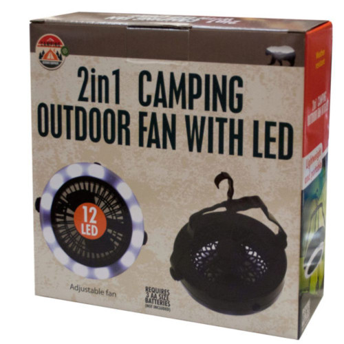 """7"""" Black and White 2 in 1 Camping Outdoor Fan with LED Light - IMAGE 1"""