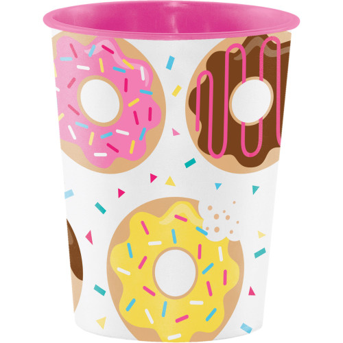 """Club Pack of 12 Pink and White Donut Time Keepsake Cups 4.5"""" - IMAGE 1"""