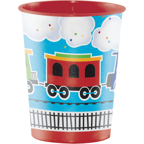 """Club Pack of 12 Pink and White Train Keepsake Cups 4.5"""" - IMAGE 1"""