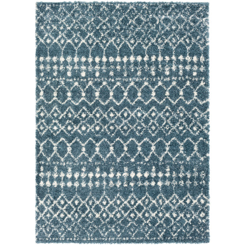 2' x 3' Tribal Patterned Blue and White Rectangular Machine Woven Area Throw Rug - IMAGE 1