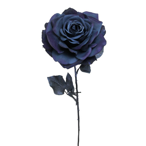 "26"" Deepest Indigo Artificial Madonna Rose Silk Floral Pick - IMAGE 1"