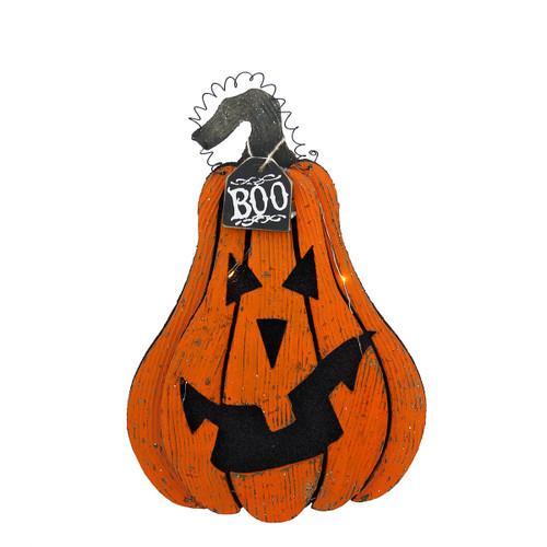 "16"" Light Up ""Boo"" Hanging Jack O' Lantern Halloween Decoration - IMAGE 1"