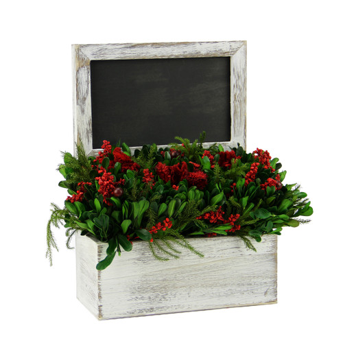 """11"""" White and Green Decorative Holiday Chalkboard with Floral Arrangement - IMAGE 1"""
