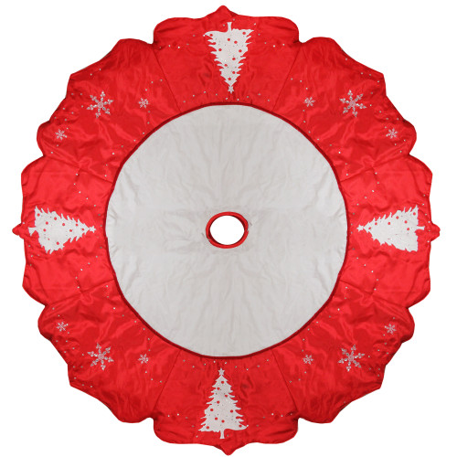 """54"""" Red and White Embroidered Jeweled Tree with Snowflake Christmas Tree Skirt - IMAGE 1"""