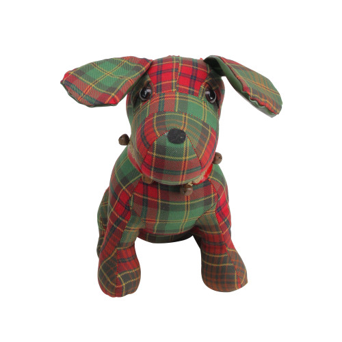 """11"""" Red and Green Plaid Dog with Bells Christmas Decoration - IMAGE 1"""