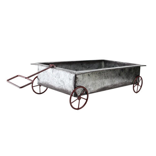 """16.25"""" Gray and Red Distressed Finished Iron Wagon Decoration - IMAGE 1"""
