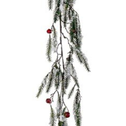 Green and Red Snowy Pine with Jingle Bells Artificial Christmas Garland - 15-Inch, Unlit - IMAGE 1