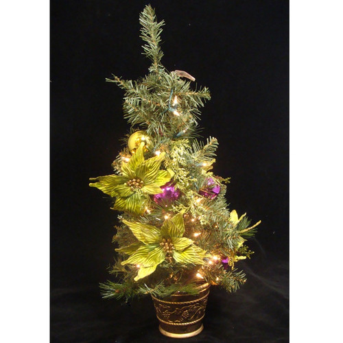 2.5' Pre-Lit Potted Lime Green Poinsettia Pine Slim Artificial Christmas Tree - Clear Lights - IMAGE 1