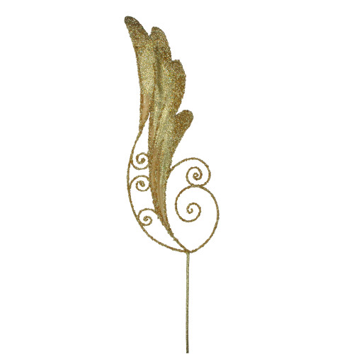 """38.5"""" Gold Iridescent Glitter Angel Wing Artificial Christmas Craft Pick - IMAGE 1"""