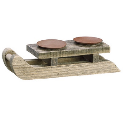 """10"""" Country Cabin Wooden Sleigh Dual Candle Holder Christmas Table Top Decoration - IMAGE 1"""