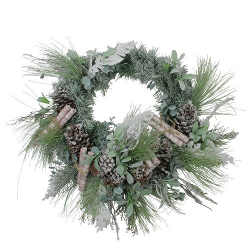 """24"""" Artificial Frosted Pine, Birch Scrolls and Pine Cone Christmas Wreath - Unlit - IMAGE 1"""