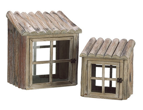 """Set of 2 Brown and Clear Natural Country Rustic Nesting Outdoor Greenhouse Terrariums 17"""" - IMAGE 1"""