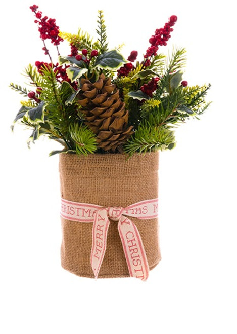 """12"""" Artificial Christmas Plant with Holly Berries and Pine Tabletop Decoration - IMAGE 1"""