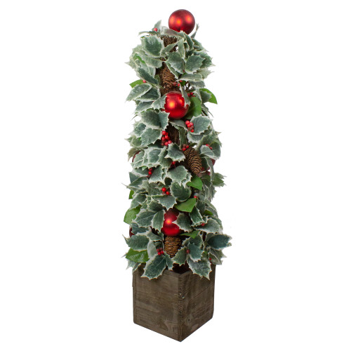 2.75' Potted Pine Cone and Berry Holly Pencil Artificial Christmas Tree - Unlit - IMAGE 1