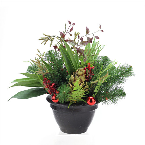 """14"""" Artificial Holly Berries, Pine Cones and Ornaments Christmas Plant - IMAGE 1"""