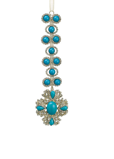 """7.5"""" Exquisite Turquoise and Gold Rhinestone Drenched Drop Christmas Ornament - IMAGE 1"""