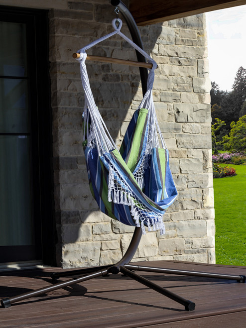 """72"""" Blue and Green Brazilian Style Hammock Chair with a Hanging Bar - IMAGE 1"""