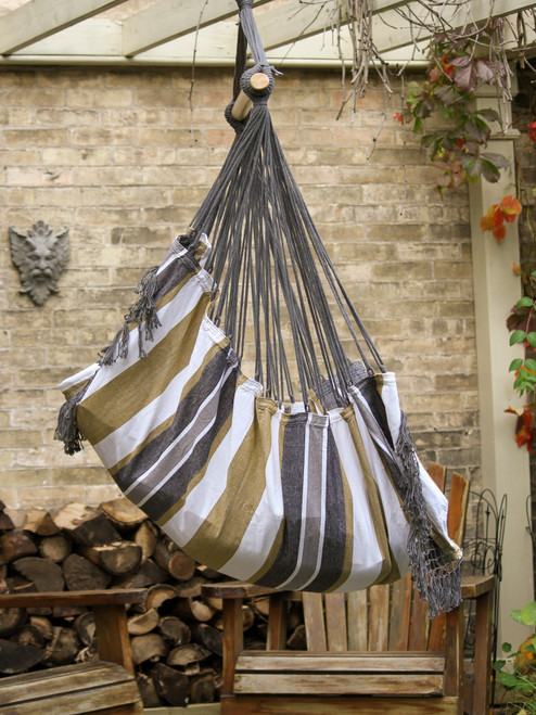 "72"" Grey Brazilian Style Hammock Chair with a Hanging Bar - IMAGE 1"