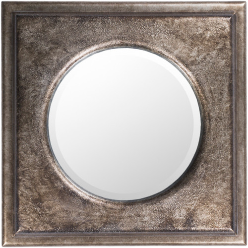 """24.15"""" Hand Painted Silver Frame Beveled Round Wall Mirror - IMAGE 1"""