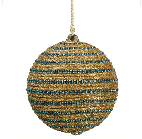 """3"""" Regal Peacock Glittered Gold and Turquoise Blue Peacock Striped Christmas Ball Ornament - IMAGE 1"""